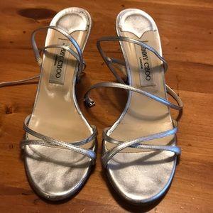 Jimmy Choo Metallic Silver Strappy Sandals Sz 39